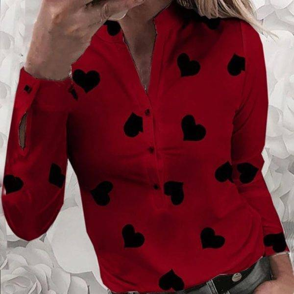 Women's Flower Heart Print Blouse 2020 Fashion Spring Summer Casual Long Sleeve V Neck Shirt Ladies Elegant Buttons Dating Tops Blouses & Shirts WOMEN'S FASHION
