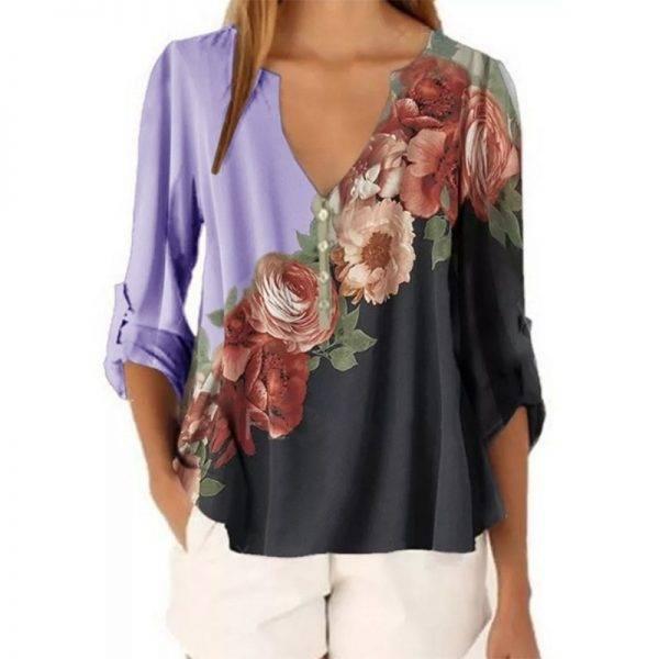 2020 New Summer Short Sleeve Shirt Sexy V-neck Floral Print Tops Blouse Fashion Casual Shirt Blouses & Shirts WOMEN'S FASHION