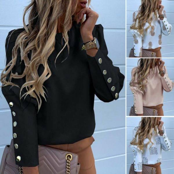 2020 Work Wear Women Blouses Long Sleeve Back Metal Buttons Shirt Casual O Neck Printed Plus Size Tops Fall Blouse Drop Shipping Blouses & Shirts WOMEN'S FASHION