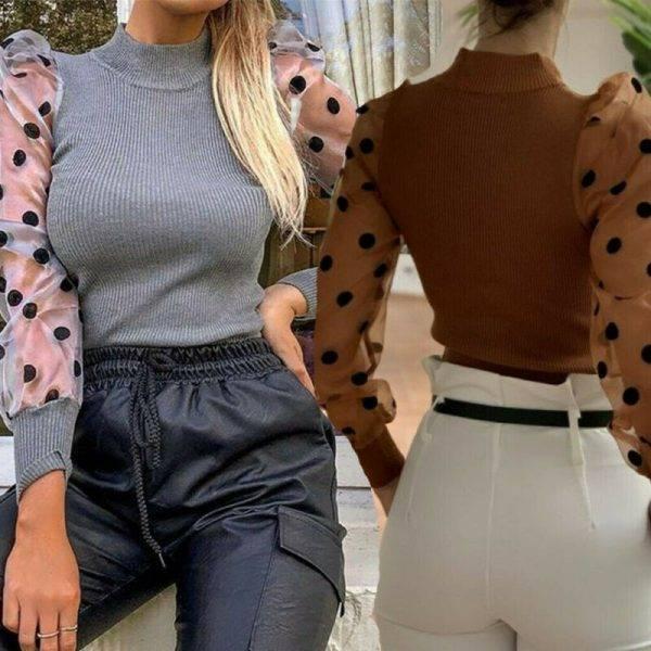 Turtleneck Knitted Polka Dot Puff Long Sleeve Blouse Women Mesh Sheer See-through Shirt Elegant Ladies Slim Tops Blusa Femme Blouses & Shirts WOMEN'S FASHION