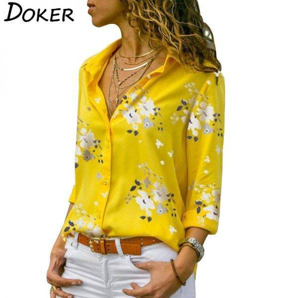 Long Sleeve Women Blouses 2020 Plus Size Turn-down Collar Blouse Shirt Casual Tops Elegant Work Wear Chiffon Shirts 5XL Blouses & Shirts WOMEN'S FASHION