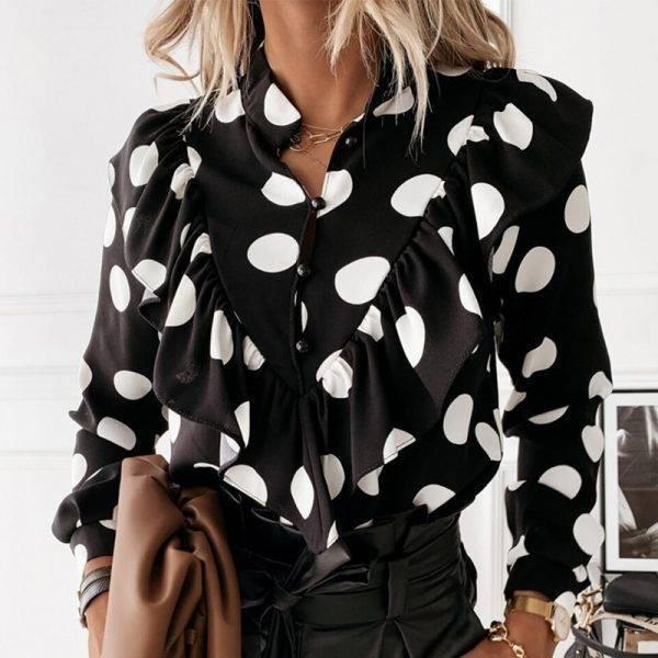 Casual Leopard Dot Print Ruffle Blouse Shirt Autumn Winter Long Sleeve Women Shirts Elegant Office Lady V-Neck Button Tops Blusa Blouses & Shirts WOMEN'S FASHION
