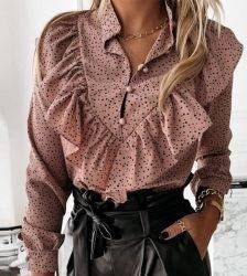 Casual Leopard Dot Print Ruffle Blouse Shirt Autumn Winter Long Sleeve Women Shirts Elegant Office Lady V-Neck Button Tops Blusa Blouses & Shirts WOMEN'S FASHION