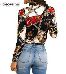 Homophony Slim Chain Women Blouses Fashion Printing Spring Autumn Blouse Shirt Elegant Casual Office Lady Streetwear Women Top Blouses & Shirts WOMEN'S FASHION