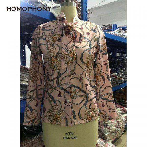 Homophony Slim Chain Women Blouses Fashion Printing Spring Autumn Blouse Shirt Elegant Casual Office Lady Streetwear Women Top Blouses & Shirts WOMEN'S FASHION