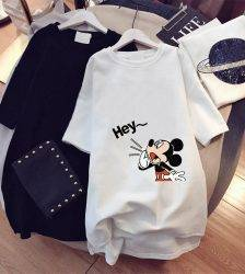 Disney Shirts Hey Mickey Mouse Print Blouses Summer Graphic Casual Female Clothes Tops Tee Korean Style Lady Fashion Shirts Blouses & Shirts WOMEN'S FASHION