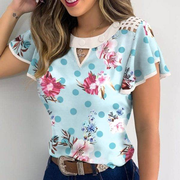 Summer Hollow Out Lace Casual blouse shirts Women Elegant Butterfly Daisy Print Ruffle Tops Short Sleeves O Neck Pullover Blusa Blouses & Shirts WOMEN'S FASHION