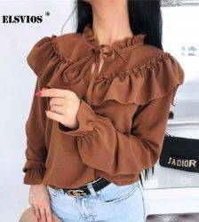 2020 Spring Lace Up Ruffle Chiffon Blouse Tops Womens Summer Blouse Lady Elegant solid Long Sleeve Shirts Casual Blusa Femininas Blouses & Shirts WOMEN'S FASHION