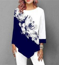 New 2020 Shirt Women Spring Summer Floral Printing Blouse 3/4 Sleeve Casual Hem Irregularity Female fashion shirt Tops Plus Size Blouses & Shirts WOMEN'S FASHION