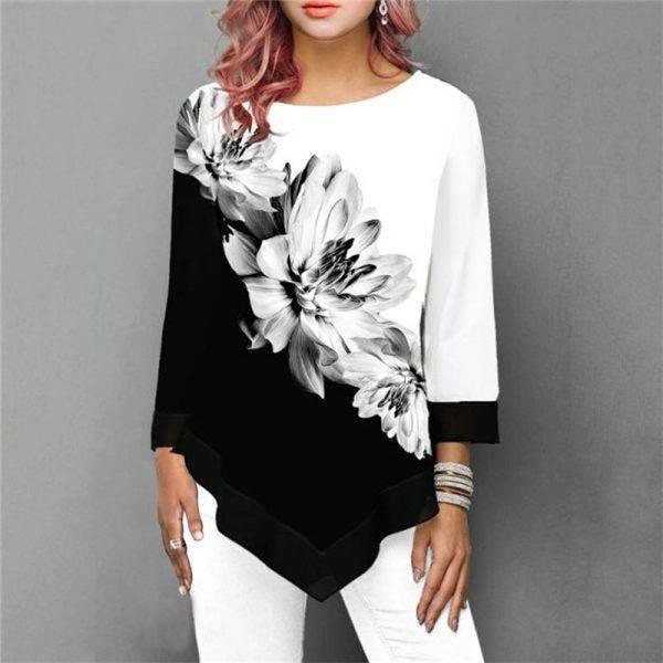 New 2020 Shirt Women Spring Summer Floral Printing Blouse 3/4 Sleeve Casual Hem Irregularity Female fashion shirt Tops Plus Size Blouses & Shirts WOMEN'S FASHION