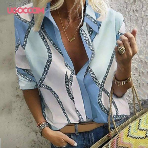 UGOCCAM Women Blouses Long Sleeve Autumn Blouse Women Blouse Shirt Office Elegant Work Shirt Plus Size Top blusas mujer de moda Blouses & Shirts WOMEN'S FASHION