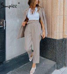 Simplee Fashion plaid women blazer suits Long sleeve Single-breasted belt blazer pants set Office ladies two-piece blazer sets Pant Suits WOMEN'S FASHION