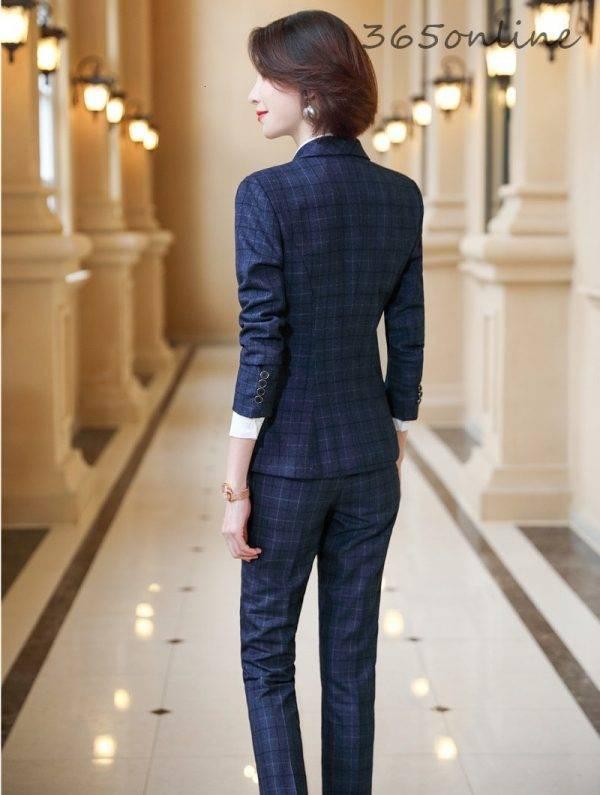 Formal Uniform Designs Pantsuits for Women Business Work Wear Ladies Office Autumn Winter Professional OL Blazers Fashion Plaid Pant Suits WOMEN'S FASHION