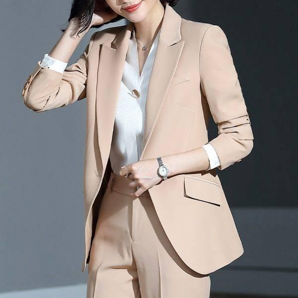 Women's suit 2019 new autumn large size long solid color fashion suit trousers set two-piece temperament women's clothing Pant Suits WOMEN'S FASHION