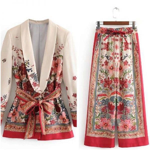 Floral Women blazer Jacket With Belt Wide Leg Pant Suit Set Women office blazer coat ladies blazer Outwear Female Women Coat Pant Suits WOMEN'S FASHION