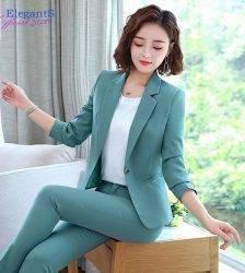 Elegant Suits Female Pink and Green Color Women Pant Suits Office Lady Formal Work Wear Business Uniforms Autumn 2 Piece Set 4XL Pant Suits WOMEN'S FASHION
