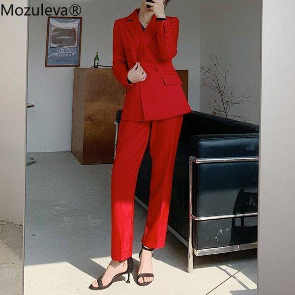 Mozuleva 2020 Notch Collar Double-breasted Women Slim OL Blazer&High Waist Pockets Straight Suit Pants Two Pieces Business Suit Pant Suits WOMEN'S FASHION