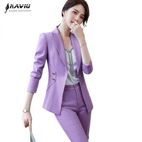 Naviu Fashion Top High Quality Purple Plaid Blazer and Pants For Women Two Pieces Set Office Suit Formal Work Wear Pant Suits WOMEN'S FASHION
