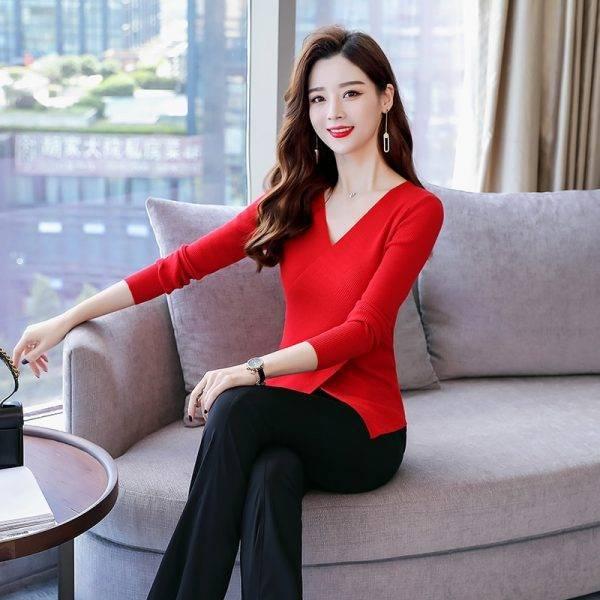 Temperament suit women's 2018 new autumn knit long sleeve slimming jacket wide leg pants fashion goddess two-piece set Pant Suits WOMEN'S FASHION