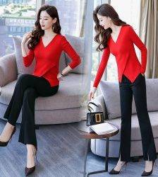 Temperament suit women's 2018 new autumn knit long sleeve slimming jacket wide leg pants fashion goddess two-piece set Pant Suits WOMEN'S FASHION