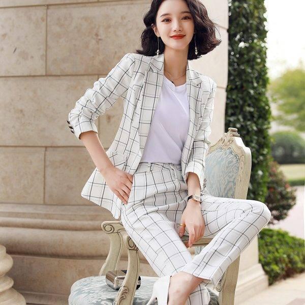 Casual Plaid Pant Suit Women S-5XL Female Blazer Suit Pink White Black Jacket Coat And Pant 2 Piece Set Pant Suits WOMEN'S FASHION