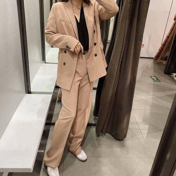 Autumn Work Fashion Pant Suits 2 Piece Set for Women Double Breasted Blazer Jacket & Trouser Office Lady Suit Feminino 2020 Pant Suits WOMEN'S FASHION