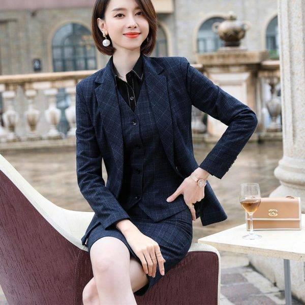 Gray Plaid Blazer Vest and Pant 3 Piece Women Pant Suit Uniform Designs S-5XL For Office Lady Business Career Work Wear Pant Suits WOMEN'S FASHION