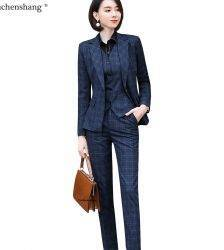 Gray Plaid Blazer Vest and Pant 3 Piece Women Pant Suit Uniform Designs S-5XL For Office Lady Business Career Work Wear Pant Suits WOMEN'S FASHION