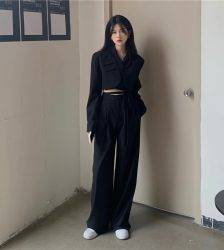 Design sense of navel long-sleeved small suit jacket, high waist drape, straight-leg casual mopping pants two-piece suit Pant Suits WOMEN'S FASHION