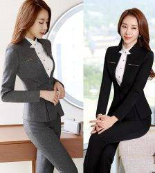 Female Elegant Business Uniform 2 Piece Set Pant Suits for Ladies Women's Business office Work Wear Blazers Trouser Sets Jacket Pant Suits WOMEN'S FASHION