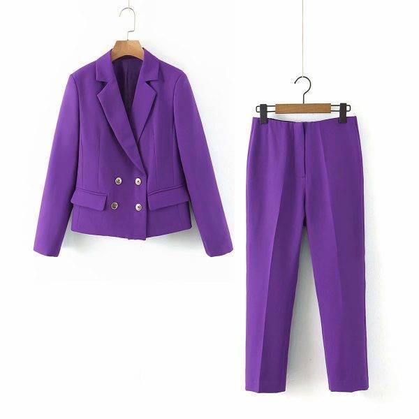 Chic Women Long Sleeve Short Double Breasted Blazer & Pant 2 Piece Set Office Ladies Streetwear Female Elegant Pants Suit Pant Suits WOMEN'S FASHION