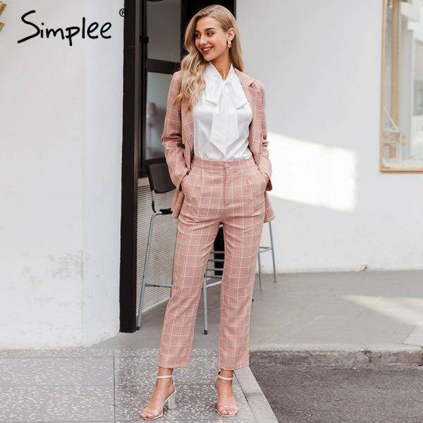Simplee Fashion plaid women blazer suits Long sleeve double breasted blazer pants set Pink office ladies two-piece blazer sets Pant Suits WOMEN'S FASHION