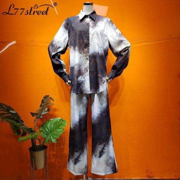 Design Non-Mainstream Metal Wind Lazy Drape Viscose Fiber Loose and Plus-sized Printed Shirt Wide Leg Pants, Two Piece Suit Pant Suits WOMEN'S FASHION