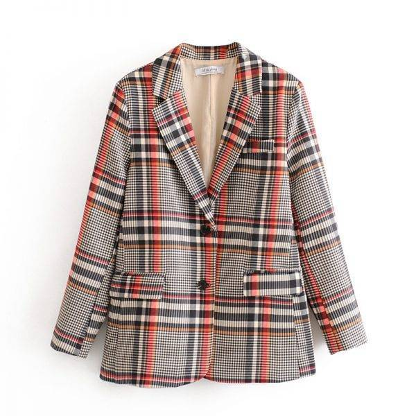 vintage plaid suit set womens blazer and pants formal work two piece set single breasted jacket Pant Suits WOMEN'S FASHION