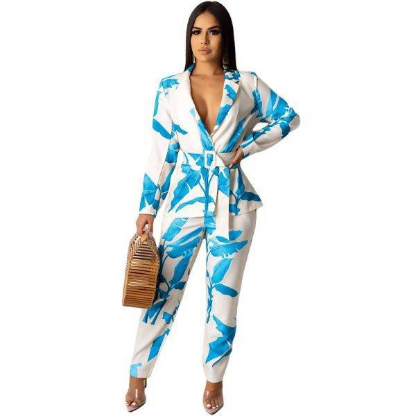 Vintage Women Pant Suit Leaves Print Casual Notched Blazer Jacket & Pant 2020 Autumn Sexy Office Wear Two Piece Set With Belt Pant Suits WOMEN'S FASHION
