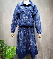 Elegant Functional Style Pin Printing Retro Long-Sleeved Jeans Coat + Skirt Two-Piece European Goods 20 Autumn New Style Pant Suits WOMEN'S FASHION