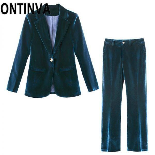 Office Ladies Two Piece Suits Velvet Blazer and Pants Women Winter Autumn Purple Dark Blue Jacket Coat with Pocket 4XL Plus Size Pant Suits WOMEN'S FASHION