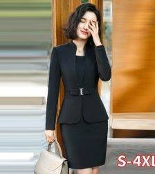 Formal Office Pant Suit For Womens Blazers Pant Set Long Sleeve Uniform Elegant Feminino Business Formal Work Suit Plus Size 4XL Pant Suits WOMEN'S FASHION