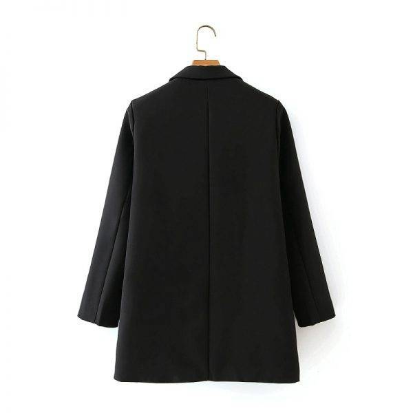 ZXQJ elegant women black jackets suit 2020 fashion ladies casual two piece set vintage female slim long blazers girls chic suits Pant Suits WOMEN'S FASHION