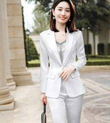 Blue Pants Suit Women 2020 New Top High Quality Satin Long Sleeve Blazer and Trousers Office Ladies Business Work Wear Pant Suits WOMEN'S FASHION