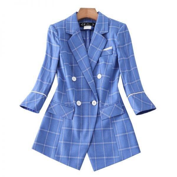 Naviu New Fashion Plaid Blazer Pants Suit Two Pieces Set Women Formal Work Clothes Office Lady Uniform Pant Suits WOMEN'S FASHION