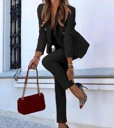 2pc Casual Women Suits Coat And Trouser Blazers Suit Female Single-breasted Long-sleeved Trousers Solid Color 2020 Spring Autumn Pant Suits WOMEN'S FASHION
