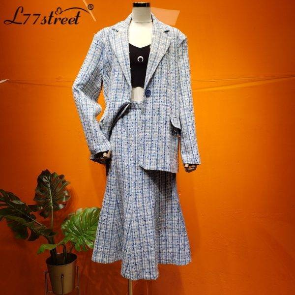 Different Graceful! Hemp Rope Woven Sequined Striped Panel Loose Suit Jacket Flared Skirt Two-Piece Set Pant Suits WOMEN'S FASHION