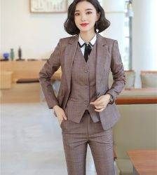 High Quality Fabric Spring Autumn Women Formal Business Suits OL Styles Professional Pantsuits Ladies Office Work Wear Blazers Pant Suits WOMEN'S FASHION