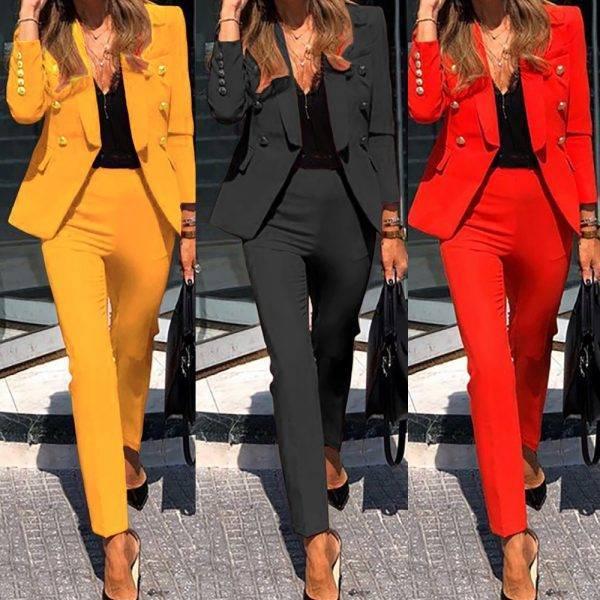 Women Suits Set Office Ladies Formal Occasion suit Business Party Buckle Blazer+Pants Two-piece Set Elegant Workplace Clothing Pant Suits WOMEN'S FASHION