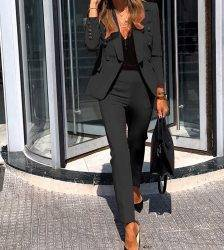 Women Suits Set Office Ladies Formal Occasion suit Business Party Buckle Blazer+Pants Two-piece Set Elegant Workplace Clothing Pant Suits WOMEN'S FASHION