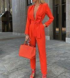 LASPERAL Women Autumn Women Set Tracksuit Long Sleeve Blazers Pants Suit Two Piece Set Fashion Office Lady Sash Business Wear Pant Suits WOMEN'S FASHION