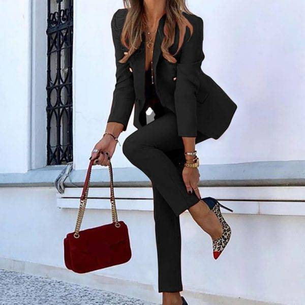 Red And Black Long Sleeve Casual Pencil Pants Suit Office Lady Two Piece Set Tracksuits Casual Outfits 2020 Autumn Women Set Pant Suits WOMEN'S FASHION