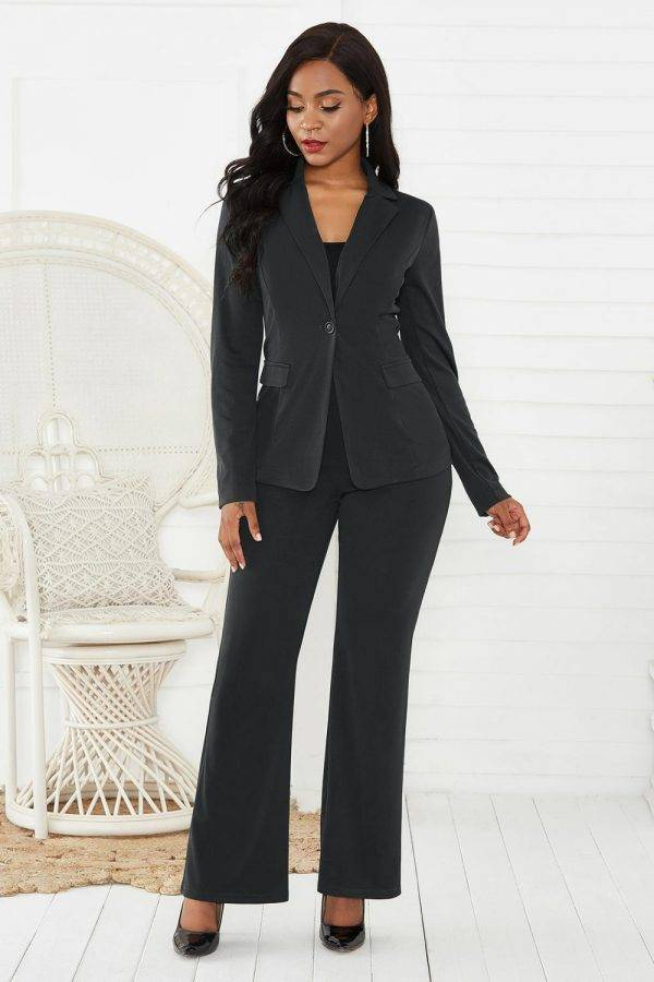 women's suit office two piece set long sleeve suit pants 2 piece set female winter two pieces sets office female Pant Suits WOMEN'S FASHION