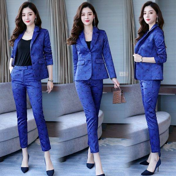 Famous Yuan Hong Kong style new women's wear professional suit printed small suit trousers show thin two-piece fashion Pant Suits WOMEN'S FASHION